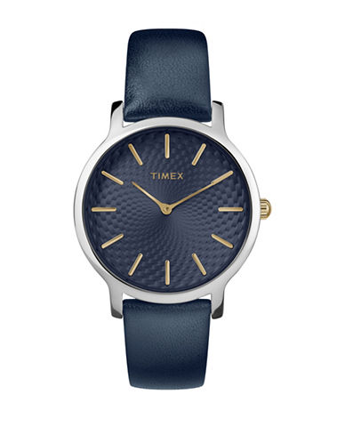 Timex Analog Navy Leather Strap Watch-BLUE-One Size