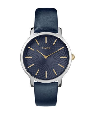 Timex Analog Navy Leather Strap Watch-BLUE-One Size