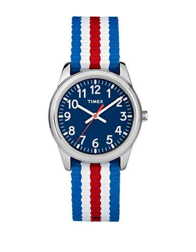 Timex Youth Style Analog Nylon Strap Watch-SILVER-One Size
