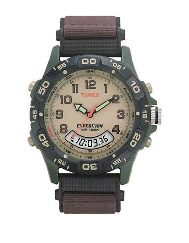 Timex T45181NG Analog Digital Combo Strap Watch-BROWN-One Size
