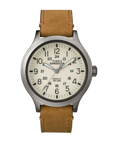Timex Analog Expedition Scout 43 Stainless Steel Leather Strap Watch-BEIGE-One Size