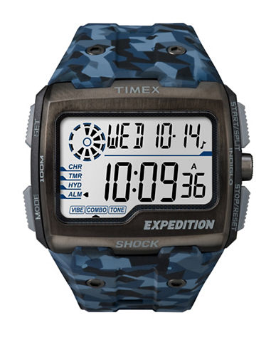 Timex Digital Expedition Grid Shock Strap Watch-BLUE-One Size