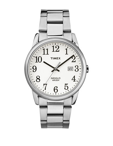 Timex Analog White Dial Stainless Steel Bracelet Watch-SILVER-One Size