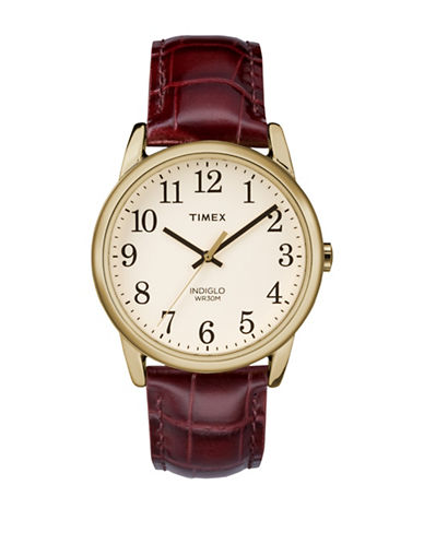 Timex Analog Reader Goldtone Leather Strap Watch-GOLD-One Size
