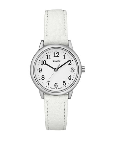 Timex Analog Reader Stainless Steel White Leather Strap Watch-SILVER-One Size