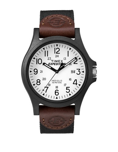 Timex Analog Expedition Black IP Nylon Strap Watch-BROWN-One Size