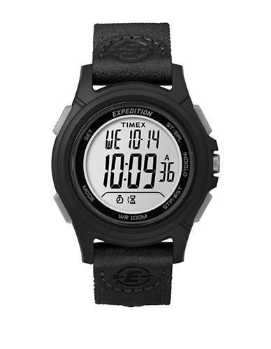 Timex Digital Expedition Black IP Nylon Strap Watch-BLACK-One Size