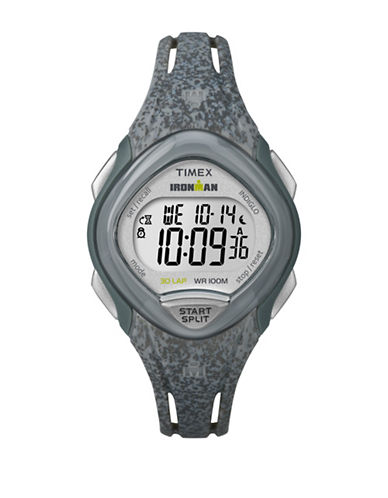 Timex Digital Ironman Sleek Grey Silicone Strap Watch-GREY-One Size