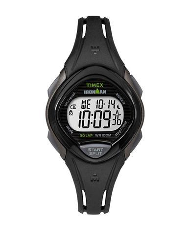 Timex Digital Ironman Sleek Black Silicone Strap Watch-GREY-One Size