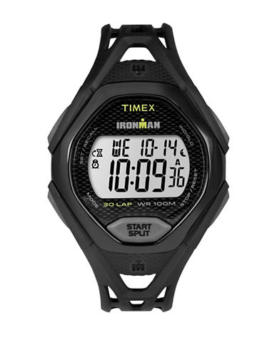 Timex Digital Ironman Sleek Black IP Open Resin Strap Watch-BLACK-One Size