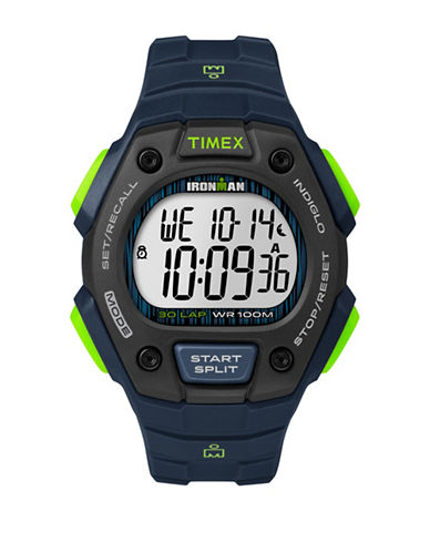 Timex Digital Ironman Classic Silicone Strap Watch-BLUE-One Size