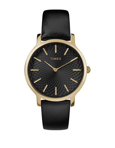 Timex Metropolitan Collection Goldtone Metal Black Leather Strap Watch-SILVER-One Size