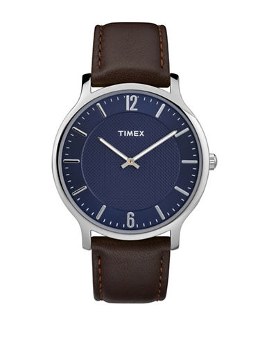 Timex Metropolitan Collection Stainless Steel Brown Leather Strap Watch-BLUE-One Size