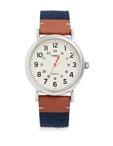 Timex Silvertone Analog Fabric Leather Strap Watch-BROWN-One Size