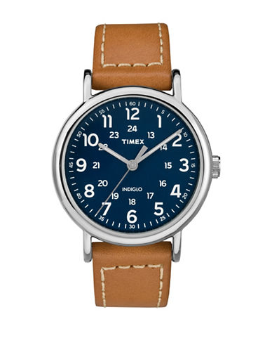 Timex Stainless Steel Cognac Leather Watch-BROWN-One Size