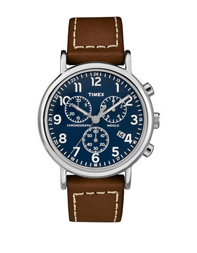 Timex Chronograph Stainless Steel Leather Strap Watch-BROWN-One Size