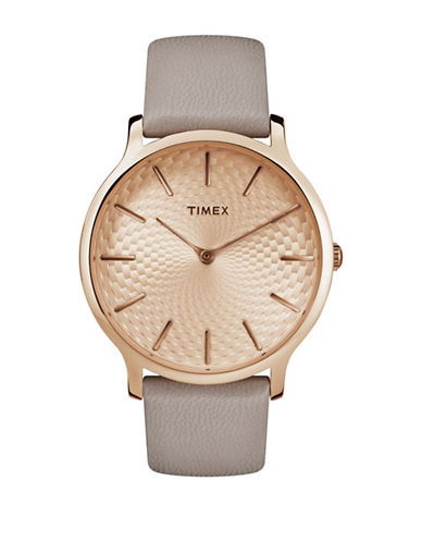 Timex Analog Rose-Goldtone Dial Grey Leather Strap Watch-ROSE GOLD-One Size