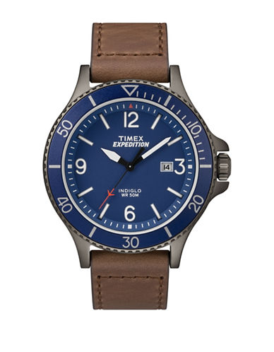 Timex Stainless Steel Leather Strap Watch-BROWN-One Size
