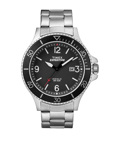 Timex Analog Black Dial Stainless Steel Bracelet Watch-SILVER-One Size