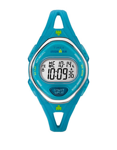Timex Digital Octagon Case Turquoise Resin Strap Watch-BLUE-One Size