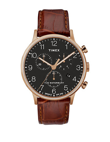 Chronograph Waterbury Brown Croc Leather Strap Watch by Timex Boutique