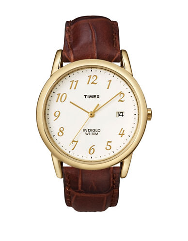Timex Easy ReaderGoldcase and Brown Leather Strap Watch-BROWN-One Size