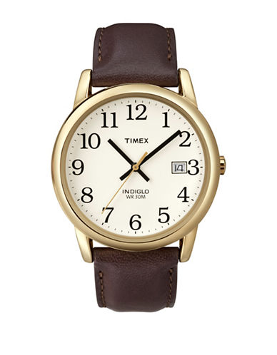 Timex Easy Reader Brown Strap and Goldtone Watch-BROWN-One Size