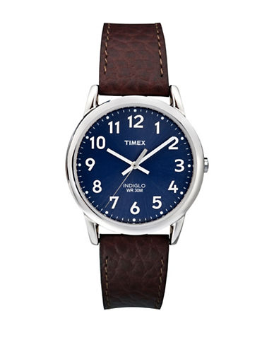 Timex Easy Reader Blue Dial Watch-BROWN-One Size