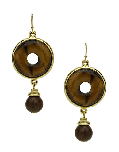 Ben Amun Sculpture Garden Semi-Precious Tiger Eye 24K Goldplated Drop Earrings-GOLD-One Size