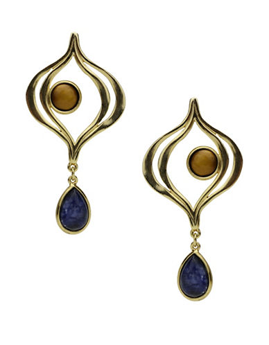 Ben Amun Sculpture Garden Sodalite and Semi-Precious Tigers Eye 24K Goldplated Drop Earrings-GOLD-One Size