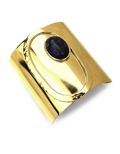 Ben Amun Sculpture Garden Semi-Precious Tiger Eye 24K Goldplated Open Cuff Bracelet-GOLD-One Size