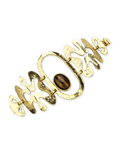 Ben Amun Sculpture Garden 24K Goldplated and Semi-Precious Tiger Eye Bracelet-GOLD-One Size