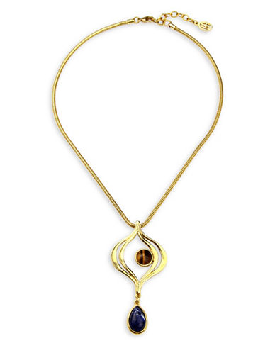 Ben Amun Sculpture Garden Semi-Precious Tiger Eye and Sodalite Pendant Necklace-GOLD-One Size