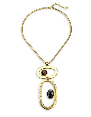 Ben Amun Sculpture Garden Semi-Precious Tiger Eye Double Pendant Necklace-GOLD-One Size