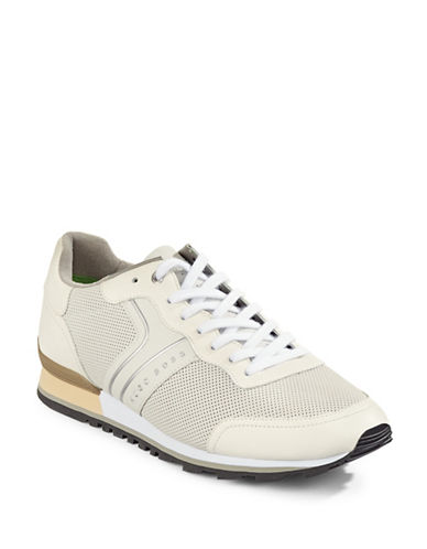 Boss Green Parkour Mesh Leather Running Shoes-WHITE-10