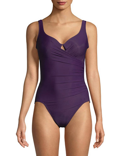 Miraclesuit One-Piece Crisscross Shirring Swimsuit-PLUM-10