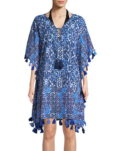 Miraclesuit Caftan Cotton Cover-Up-BLUE-Medium