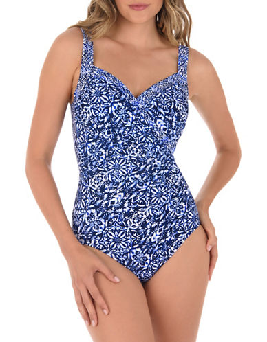 Miraclesuit One-Piece Printed Swimsuit with Soft Cup Bra-BLUE-10
