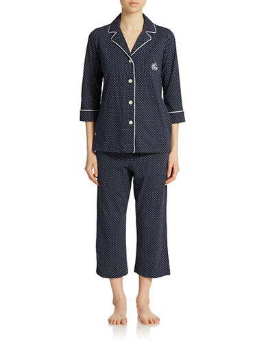 Lauren Ralph Lauren Plus Windsor Pajama Set-NAVY DOT-Large