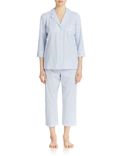 Lauren Ralph Lauren Plus Windsor Pajama Set-BLUE/WHITE-Small