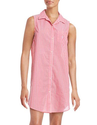 Lauren Ralph Lauren Pinstripe Sleeveless Sleep Shirt-CORAL-Medium 88379235_CORAL_Medium