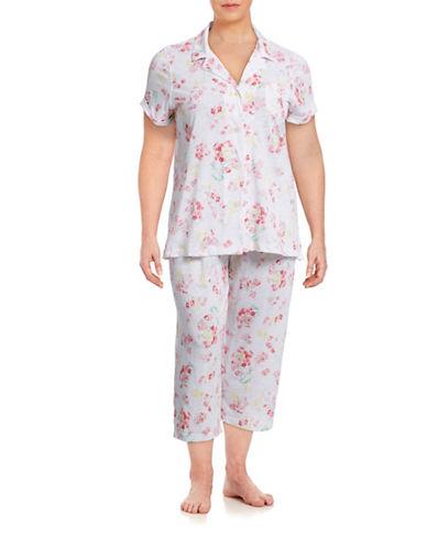 Lauren Ralph Lauren Plus Short Sleeve Bermuda PJ Set-RED-2X plus size,  plus size fashion plus size appare