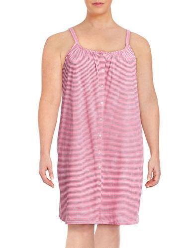 Lauren Ralph Lauren Plus Tank Short Gown with Buttons-RED-2X plus size,  plus size fashion plus size appare