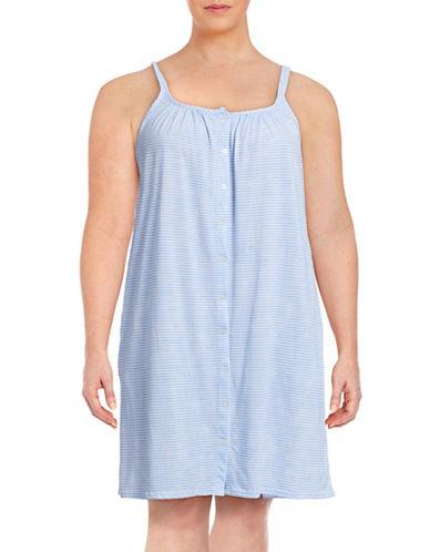 Lauren Ralph Lauren Plus Tank Short Gown with Buttons-BLUE-2X plus size,  plus size fashion plus size appare