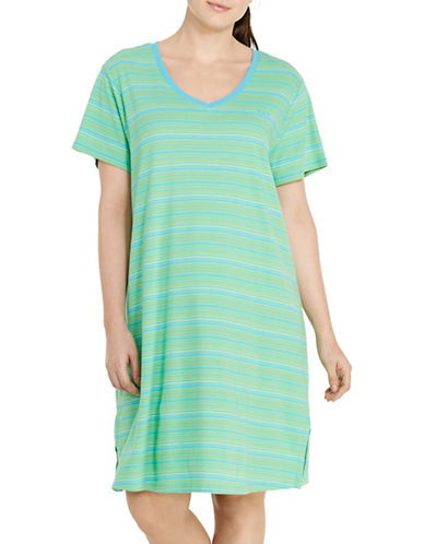 Lauren Ralph Lauren Plus Striped Slub Jersey Sleep Tee-GREEN-2X plus size,  plus size fashion plus size appare