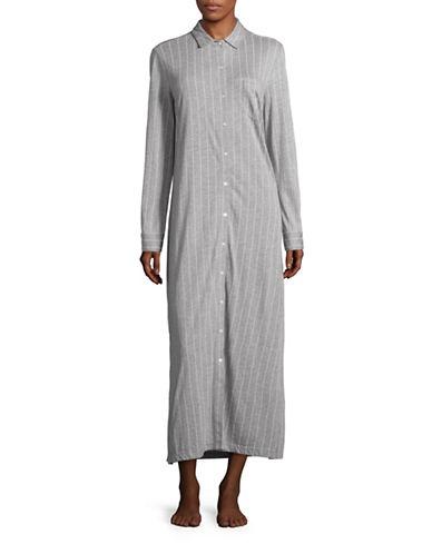 Lauren Ralph Lauren Collared Maxi Sleep Shirt-GREY-Medium 88512871_GREY_Medium
