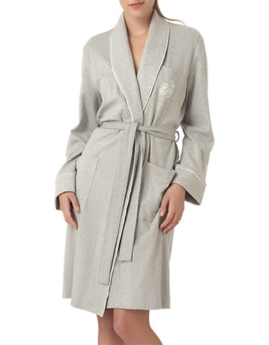 Lauren Ralph Lauren Essentials Short Shawl Collar Robe-GREY-Large