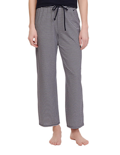 Nautica Knit Striped Ankle Pants-BLUE-Large