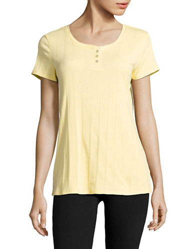 Nautica Ribbed Stripe Button Top-YELLOW-Medium