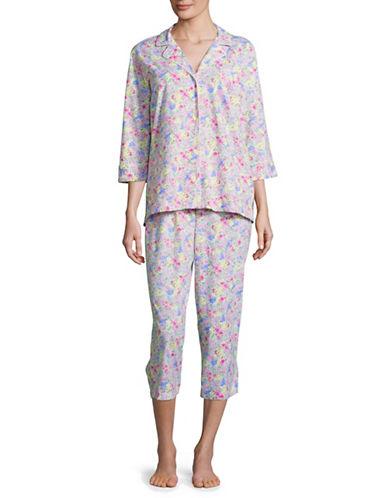 Lauren Ralph Lauren Printed Classic Knit Capri Pyjamas-PINK-X-Large 88843494_PINK_X-Large